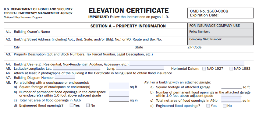 Elevation Certificate | FEMA Letter of Map Amendment