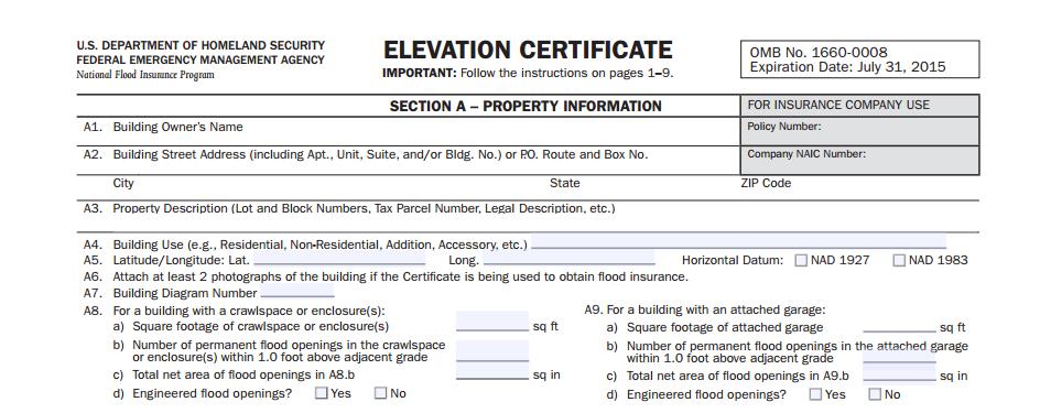 Elevation Certificate | FEMA Letter of Map Amendment